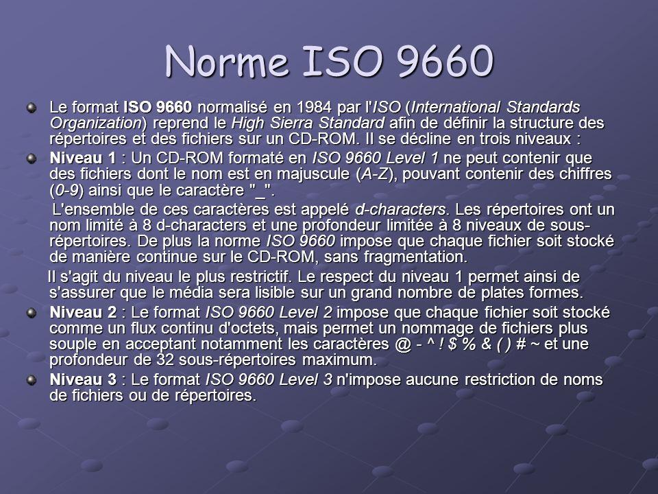Norme ISO 9660 Le format ISO 9660 normalisé en 1984 par l'ISO (International Standards Organization) reprend le High Sierra Standard afin de définir l