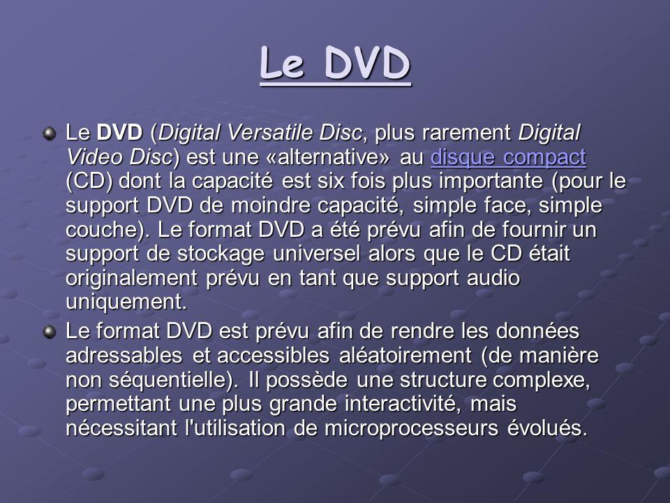 Le DVD Le DVD (Digital Versatile Disc, plus rarement Digital Video Disc) est une «alternative» au disque compact (CD) dont la capacité est six fois pl