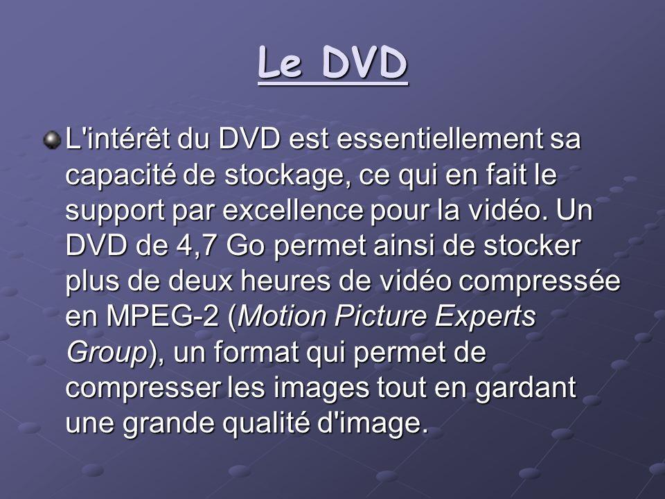 Le DVD L'intérêt du DVD est essentiellement sa capacité de stockage, ce qui en fait le support par excellence pour la vidéo. Un DVD de 4,7 Go permet a