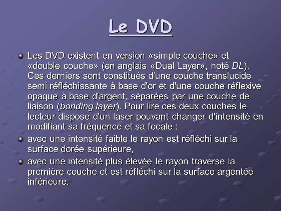 Le DVD Les DVD existent en version «simple couche» et «double couche» (en anglais «Dual Layer», noté DL). Ces derniers sont constitués d'une couche tr