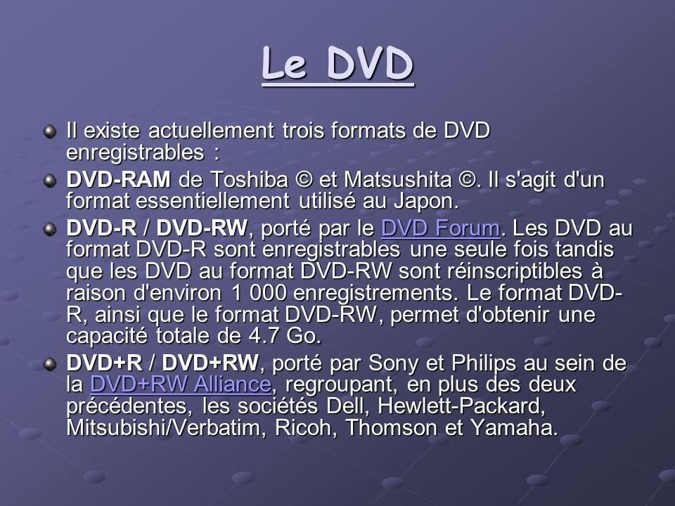 Le DVD Il existe actuellement trois formats de DVD enregistrables : DVD-RAM de Toshiba © et Matsushita ©. Il s'agit d'un format essentiellement utilis