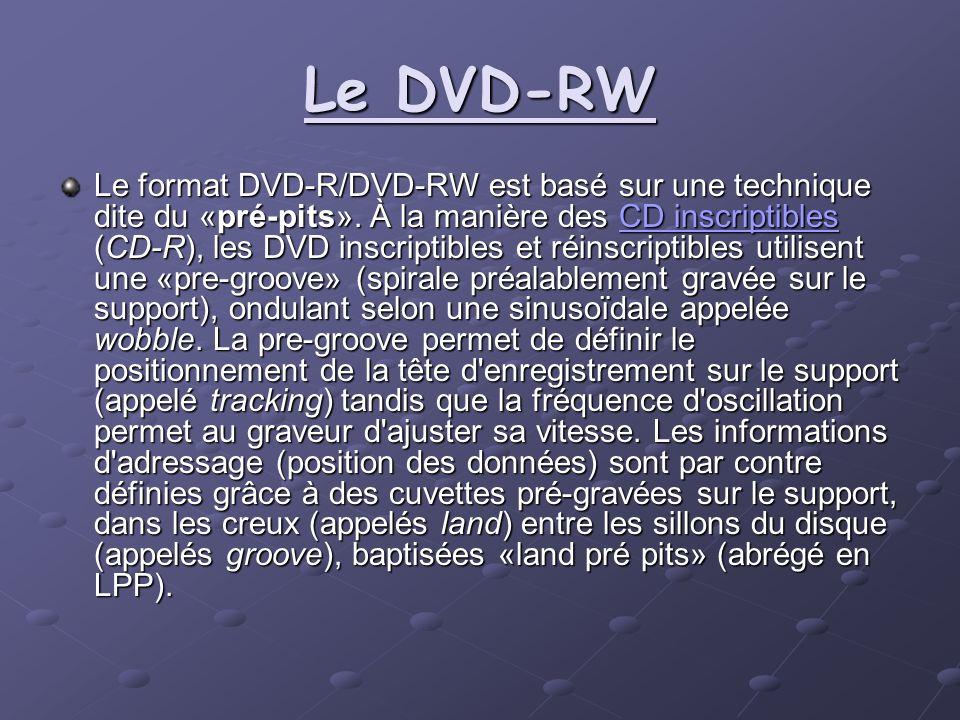 Le DVD-RW Le format DVD-R/DVD-RW est basé sur une technique dite du «pré-pits». À la manière des CD inscriptibles (CD-R), les DVD inscriptibles et réi