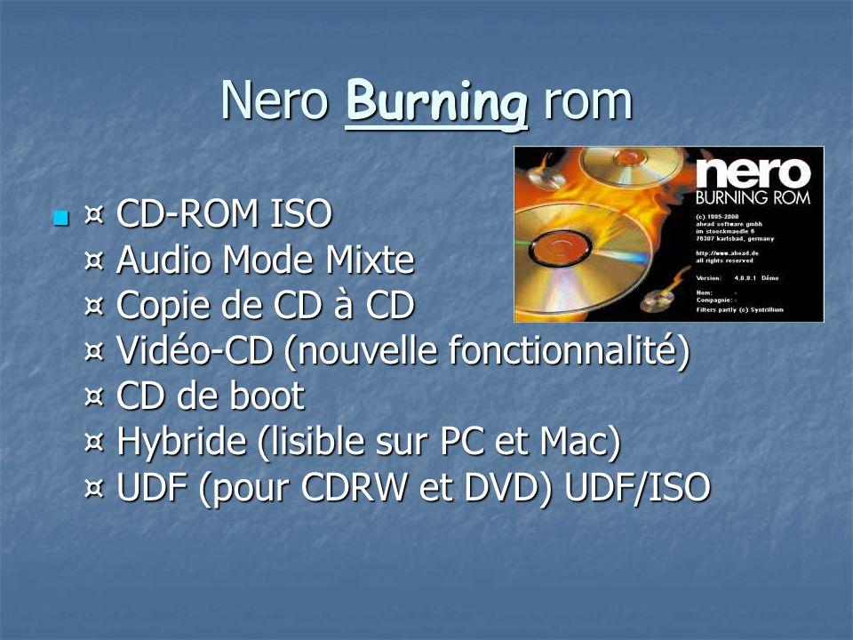 Nero Burning rom ¤ CD-ROM ISO ¤ Audio Mode Mixte ¤ Copie de CD à CD ¤ Vidéo-CD (nouvelle fonctionnalité) ¤ CD de boot ¤ Hybride (lisible sur PC et Mac
