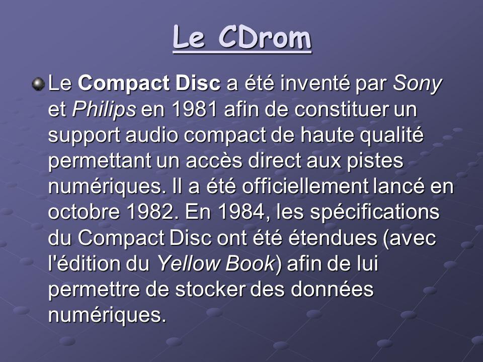Le CDrom Le Compact Disc a été inventé par Sony et Philips en 1981 afin de constituer un support audio compact de haute qualité permettant un accès di
