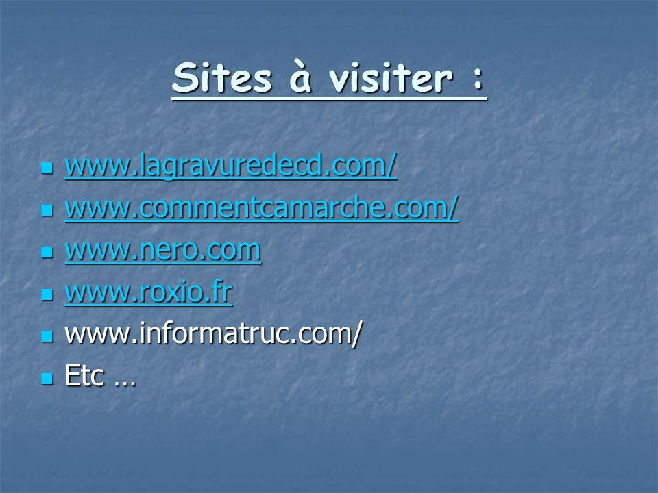 Sites à visiter : www.lagravuredecd.com/ www.lagravuredecd.com/ www.lagravuredecd.com/ www.commentcamarche.com/ www.commentcamarche.com/ www.commentca