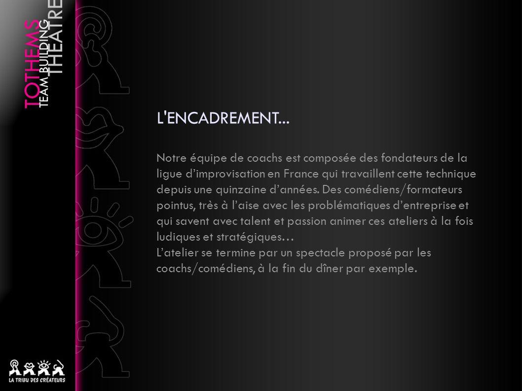 L'ENCADREMENT... Notre équipe de coachs est composée des fondateurs de la ligue dimprovisation en France qui travaillent cette technique depuis une qu