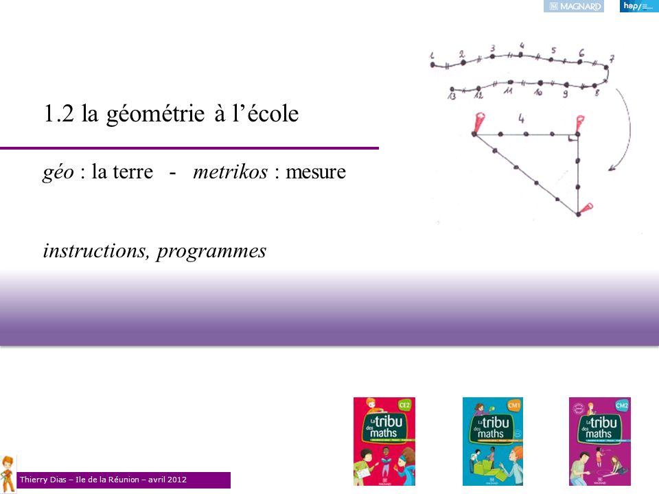 Thierry Dias – Ile de la Réunion – avril 2012 1.2 la géométrie à lécole géo : la terre - metrikos : mesure instructions, programmes
