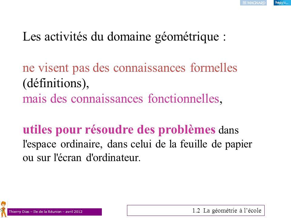 Thierry Dias – Ile de la Réunion – avril 2012 Les activités du domaine géométrique : ne visent pas des connaissances formelles (définitions), mais des