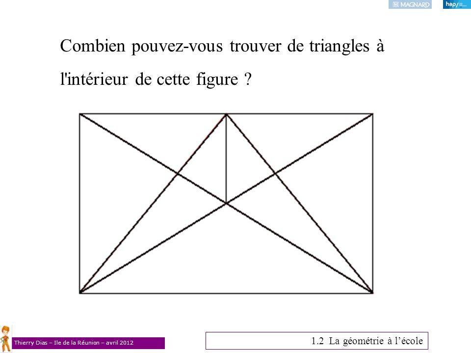 Thierry Dias – Ile de la Réunion – avril 2012 Combien pouvez-vous trouver de triangles à l'intérieur de cette figure ? 1.2 La géométrie à lécole