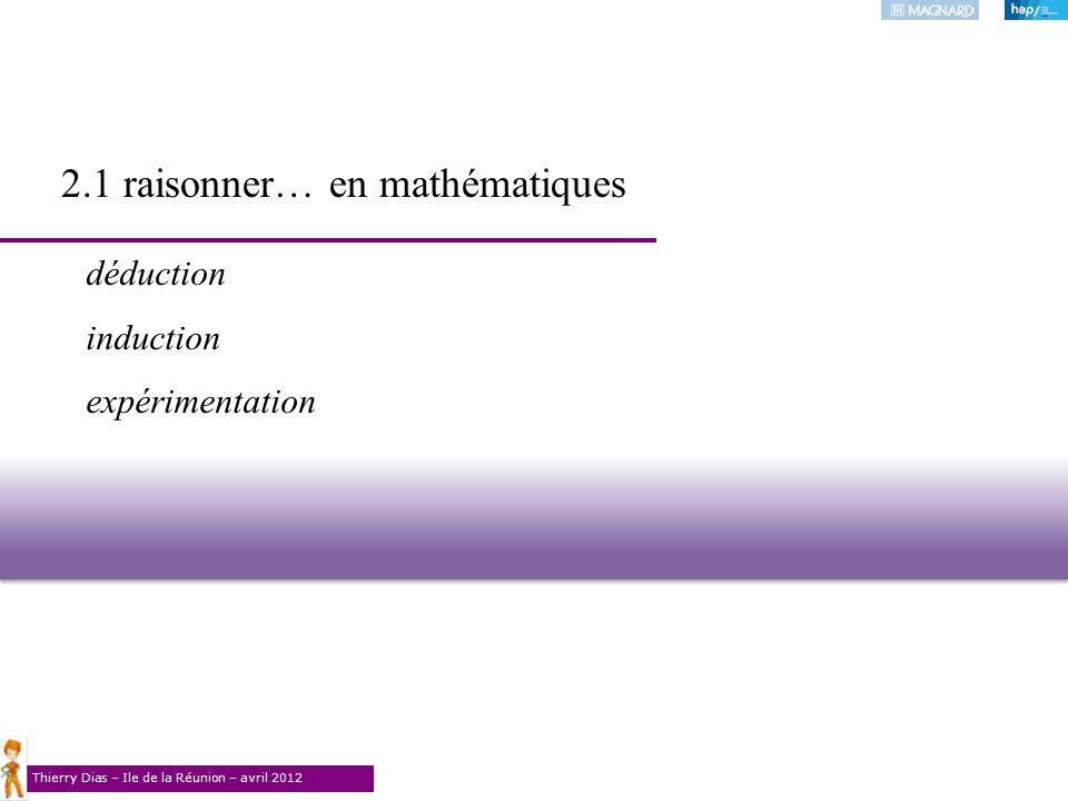Thierry Dias – Ile de la Réunion – avril 2012 2.1 raisonner… en mathématiques déduction induction expérimentation