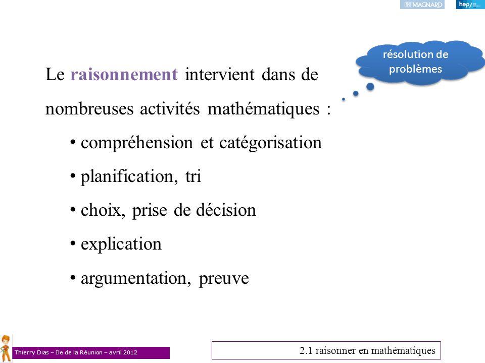 Thierry Dias – Ile de la Réunion – avril 2012 Le raisonnement intervient dans de nombreuses activités mathématiques : compréhension et catégorisation