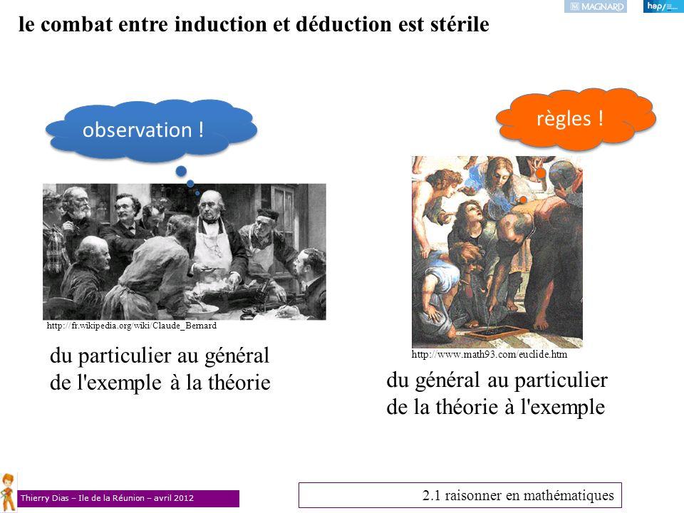Thierry Dias – Ile de la Réunion – avril 2012 le combat entre induction et déduction est stérile 2.1 raisonner en mathématiques du particulier au géné