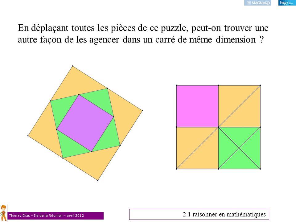 Thierry Dias – Ile de la Réunion – avril 2012 En déplaçant toutes les pièces de ce puzzle, peut-on trouver une autre façon de les agencer dans un carr