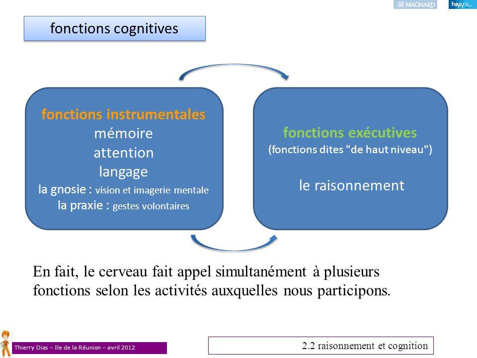 Thierry Dias – Ile de la Réunion – avril 2012 fonctions instrumentales mémoire attention langage la gnosie : vision et imagerie mentale la praxie : ge