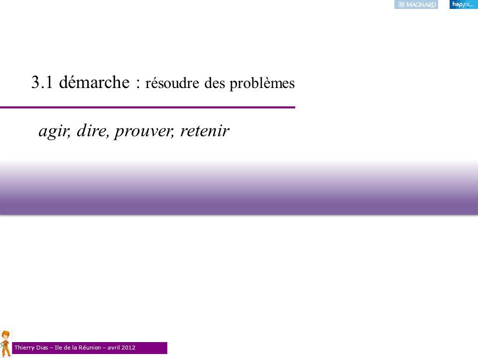 Thierry Dias – Ile de la Réunion – avril 2012 agir, dire, prouver, retenir 3.1 démarche : résoudre des problèmes
