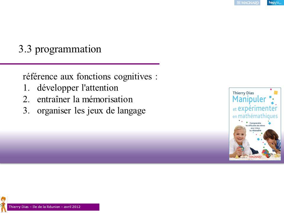 Thierry Dias – Ile de la Réunion – avril 2012 référence aux fonctions cognitives : 1.développer l'attention 2.entraîner la mémorisation 3.organiser le