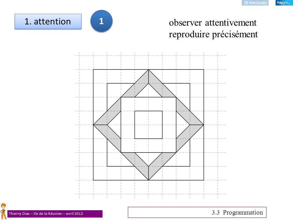 Thierry Dias – Ile de la Réunion – avril 2012 1. attention 3.3 Programmation observer attentivement reproduire précisément 1 1