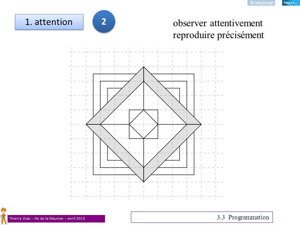 Thierry Dias – Ile de la Réunion – avril 2012 1. attention 3.3 Programmation observer attentivement reproduire précisément 2 2