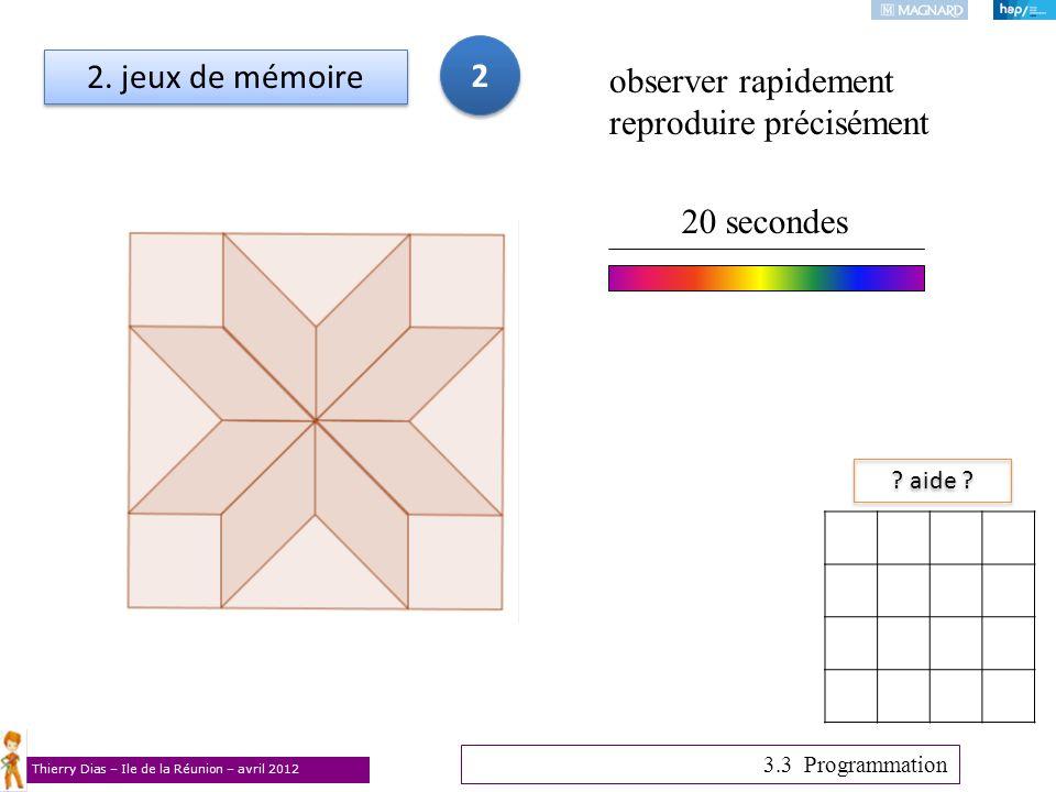 Thierry Dias – Ile de la Réunion – avril 2012 2. jeux de mémoire ? aide ? 3.3 Programmation observer rapidement reproduire précisément 20 secondes 2 2