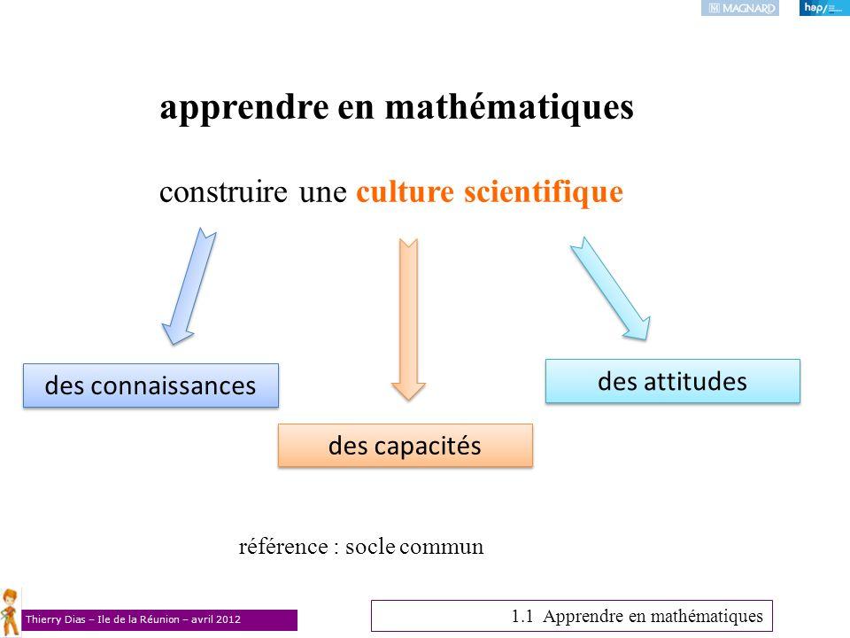 Thierry Dias – Ile de la Réunion – avril 2012 des connaissances des attitudes apprendre en mathématiques construire une culture scientifique référence