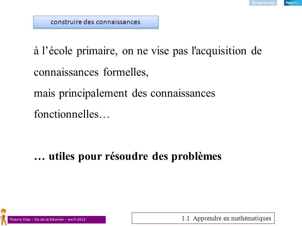 Thierry Dias – Ile de la Réunion – avril 2012 à lécole primaire, on ne vise pas l'acquisition de connaissances formelles, mais principalement des conn