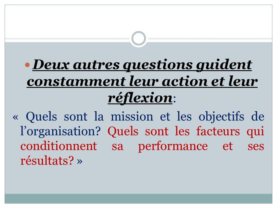Deux autres questions guident constamment leur action et leur réflexion : « Quels sont la mission et les objectifs de lorganisation.
