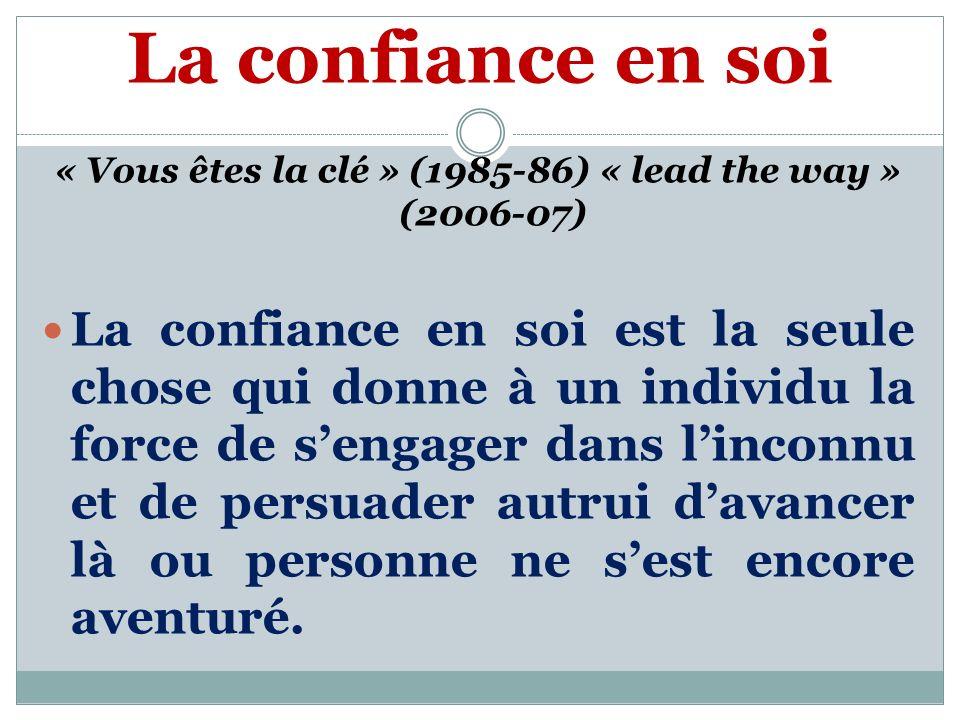 La confiance en soi « Vous êtes la clé » (1985-86) « lead the way » (2006-07) La confiance en soi est la seule chose qui donne à un individu la force de sengager dans linconnu et de persuader autrui davancer là ou personne ne sest encore aventuré.