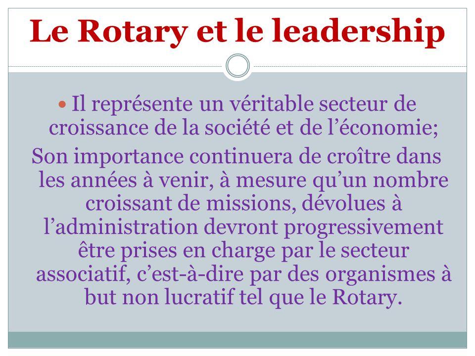Le Rotary et le leadership Il représente un véritable secteur de croissance de la société et de léconomie; Son importance continuera de croître dans les années à venir, à mesure quun nombre croissant de missions, dévolues à ladministration devront progressivement être prises en charge par le secteur associatif, cest-à-dire par des organismes à but non lucratif tel que le Rotary.