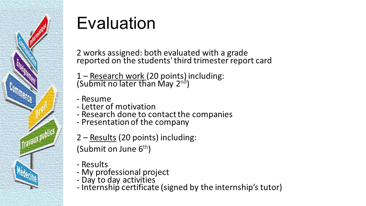 Evaluation 2 works assigned: both evaluated with a grade reported on the students' third trimester report card 1 – Research work (20 points) including