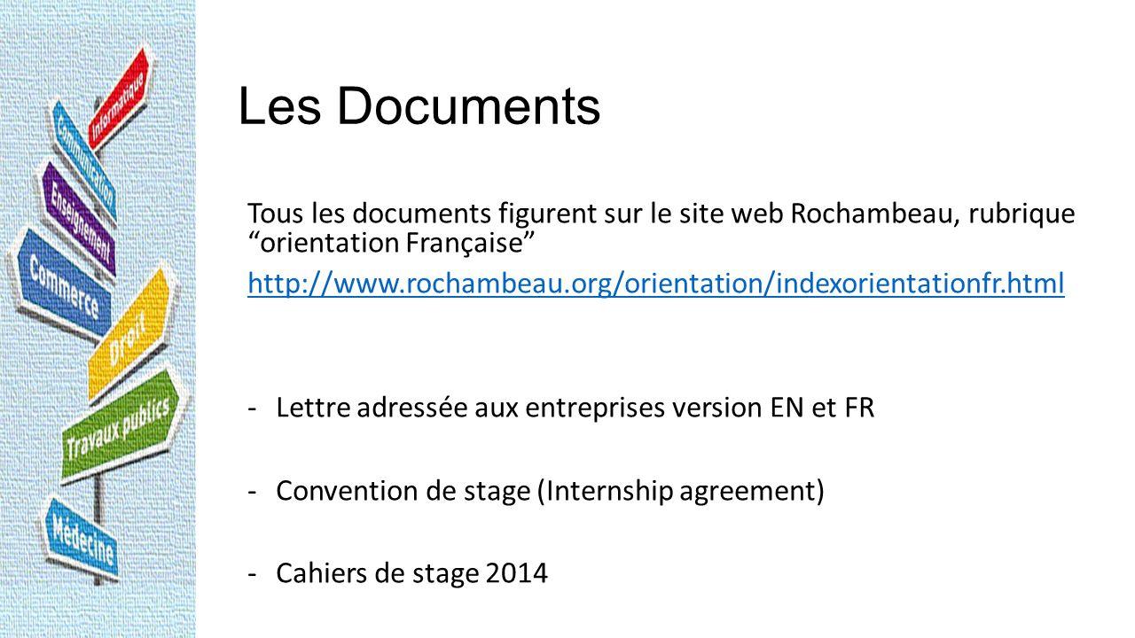 Les Documents Tous les documents figurent sur le site web Rochambeau, rubrique orientation Française http://www.rochambeau.org/orientation/indexorient