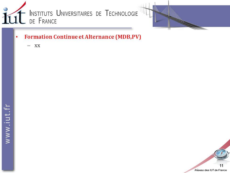 Réseau des IUT de France Formation Continue et Alternance (MDB,PV) – xx 11