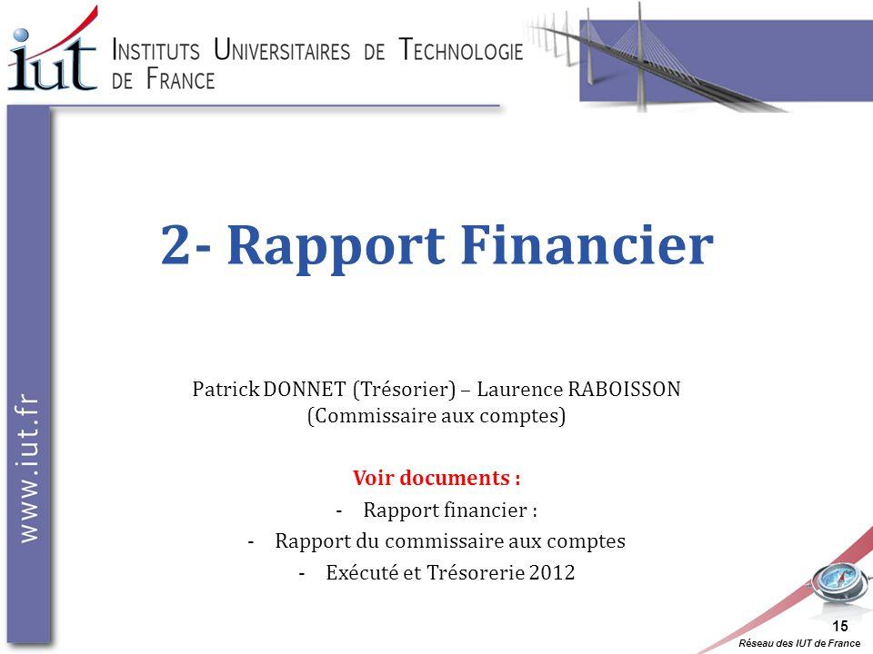 Réseau des IUT de France 2- Rapport Financier Patrick DONNET (Trésorier) – Laurence RABOISSON (Commissaire aux comptes) Voir documents : -Rapport fina