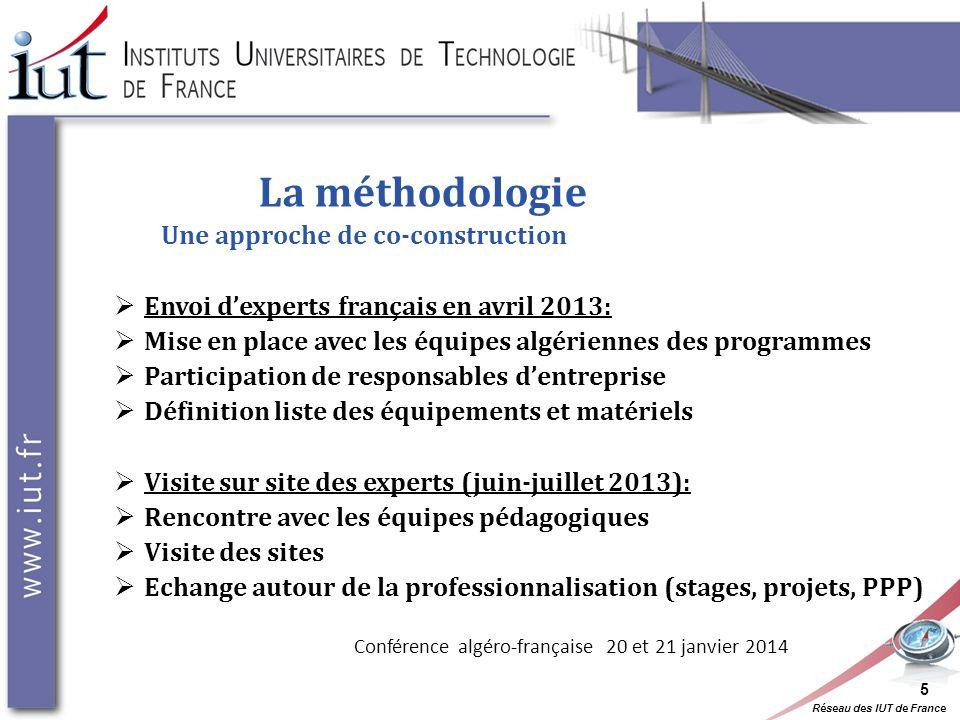 Réseau des IUT de France La méthodologie Une approche de co-construction Envoi dexperts français en avril 2013: Mise en place avec les équipes algérie