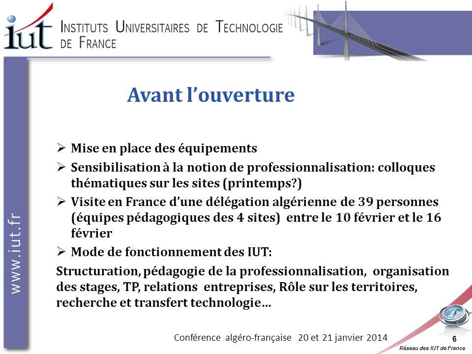 Réseau des IUT de France 6 Avant louverture Mise en place des équipements Sensibilisation à la notion de professionnalisation: colloques thématiques s