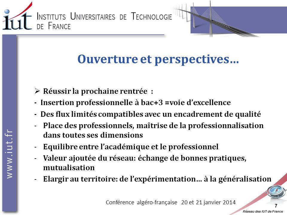 Réseau des IUT de France Ouverture et perspectives… Réussir la prochaine rentrée : - Insertion professionnelle à bac+3 =voie dexcellence - Des flux li