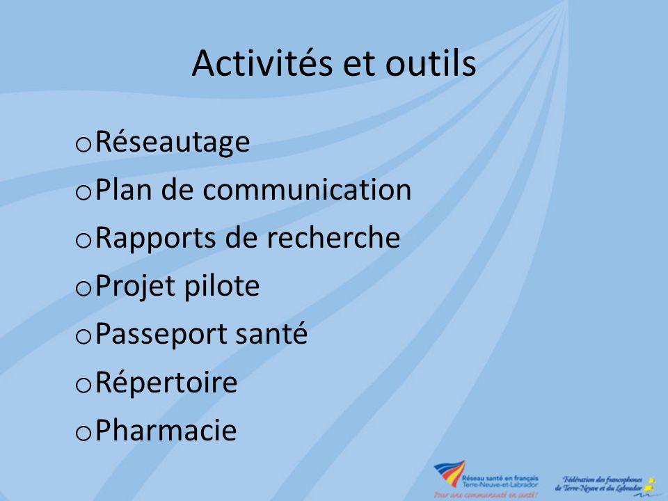 Activités et outils o Réseautage o Plan de communication o Rapports de recherche o Projet pilote o Passeport santé o Répertoire o Pharmacie