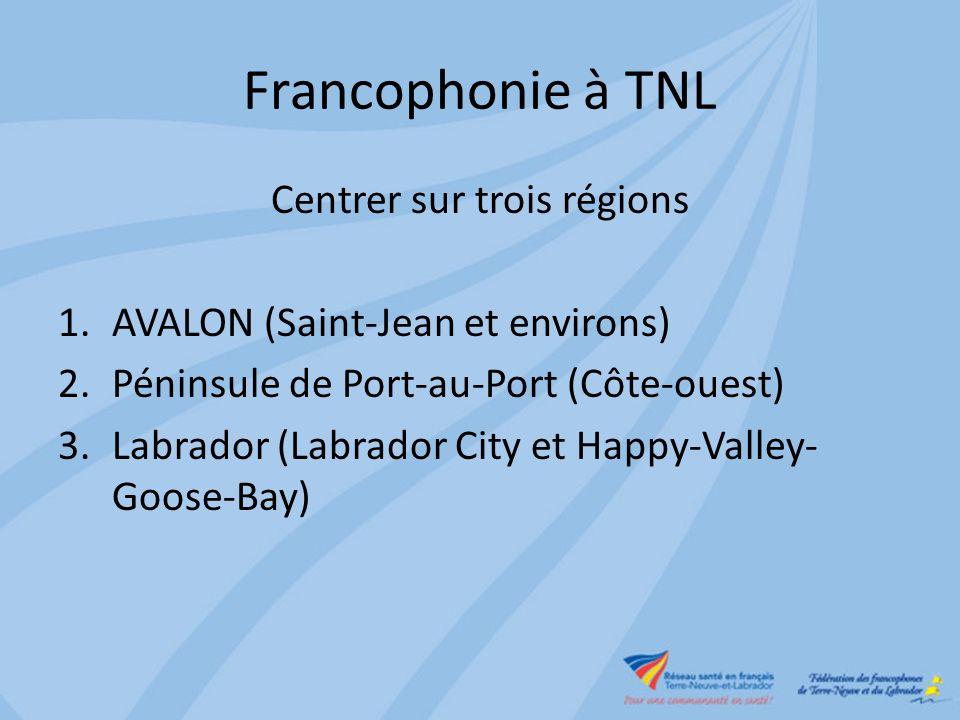 Francophonie à TNL Centrer sur trois régions 1.AVALON (Saint-Jean et environs) 2.Péninsule de Port-au-Port (Côte-ouest) 3.Labrador (Labrador City et Happy-Valley- Goose-Bay)