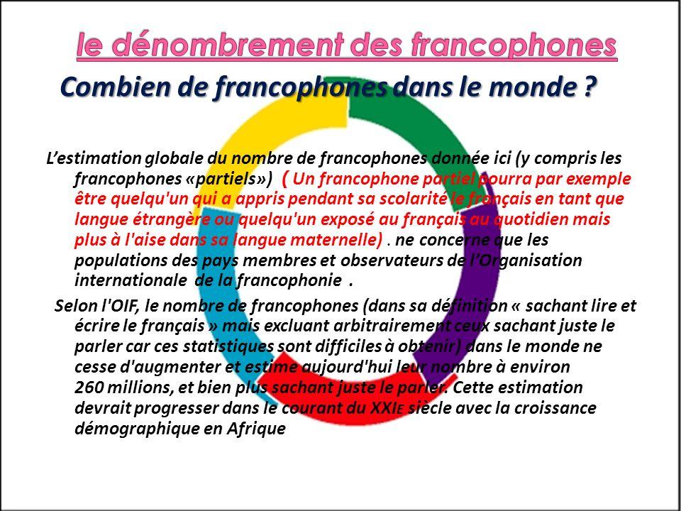Combien de francophones dans le monde ? Lestimation globale du nombre de francophones donnée ici (y compris les francophones «partiels») ( Un francoph