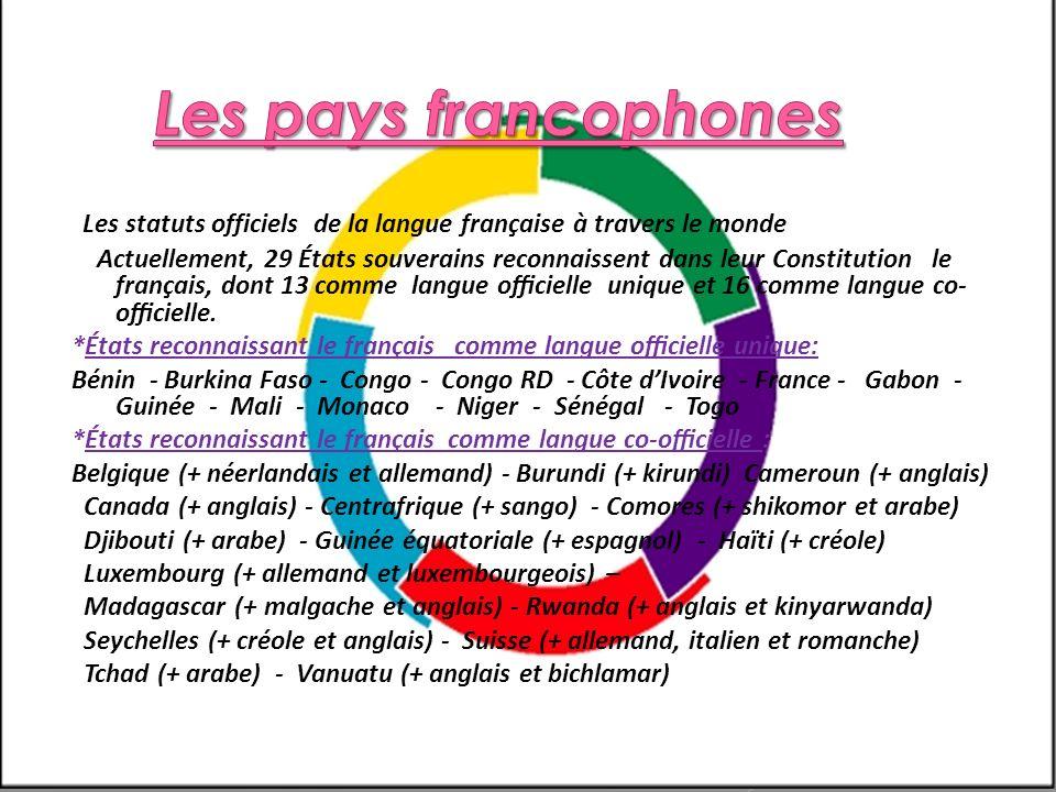 Les statuts officiels de la langue française à travers le monde Actuellement, 29 États souverains reconnaissent dans leur Constitution le français, do