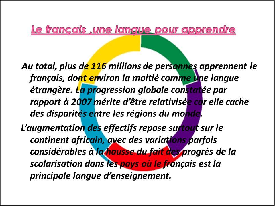 Au total, plus de 116 millions de personnes apprennent le français, dont environ la moitié comme une langue étrangère. La progression globale constaté