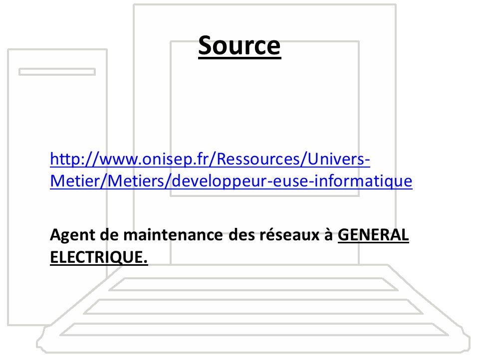 Source http://www.onisep.fr/Ressources/Univers- Metier/Metiers/developpeur-euse-informatique Agent de maintenance des réseaux à GENERAL ELECTRIQUE.