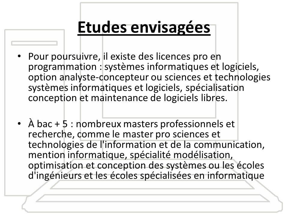 Etudes envisagées Pour poursuivre, il existe des licences pro en programmation : systèmes informatiques et logiciels, option analyste-concepteur ou sc
