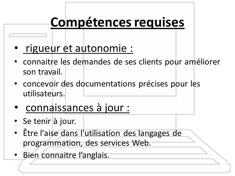Compétences requises rigueur et autonomie : connaitre les demandes de ses clients pour améliorer son travail. concevoir des documentations précises po