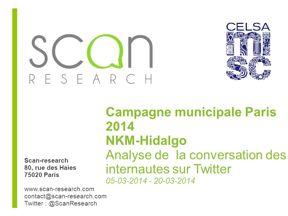 Scan-research Evolution des thèmes de campagne NKM 17-11-2013 / 20-03-214 (par semaine) Une forte augmentation des thèmes « Environnement » et « Transports », après le pic de pollution