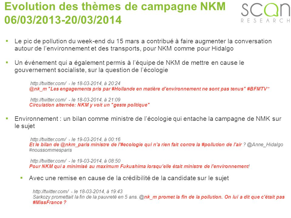Scan-research Evolution des thèmes de campagne NKM 06/03/2013-20/03/2014 Le pic de pollution du week-end du 15 mars a contribué à faire augmenter la c