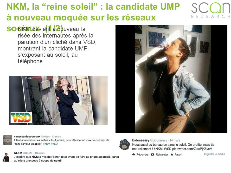 Scan-research NKM, la reine soleil : la candidate UMP à nouveau moquée sur les réseaux sociaux (1/2) NKM devient à nouveau la risée des internautes après la parution dun cliché dans VSD, montrant la candidate UMP sexposant au soleil, au téléphone.