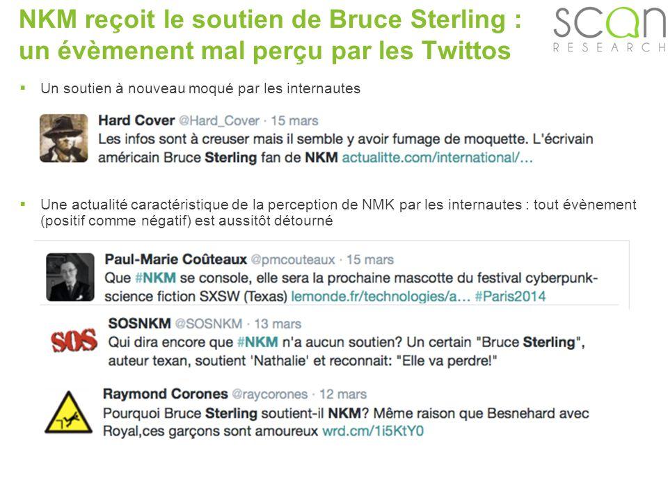 Scan-research NKM reçoit le soutien de Bruce Sterling : un évèmenent mal perçu par les Twittos Un soutien à nouveau moqué par les internautes Une actualité caractéristique de la perception de NMK par les internautes : tout évènement (positif comme négatif) est aussitôt détourné