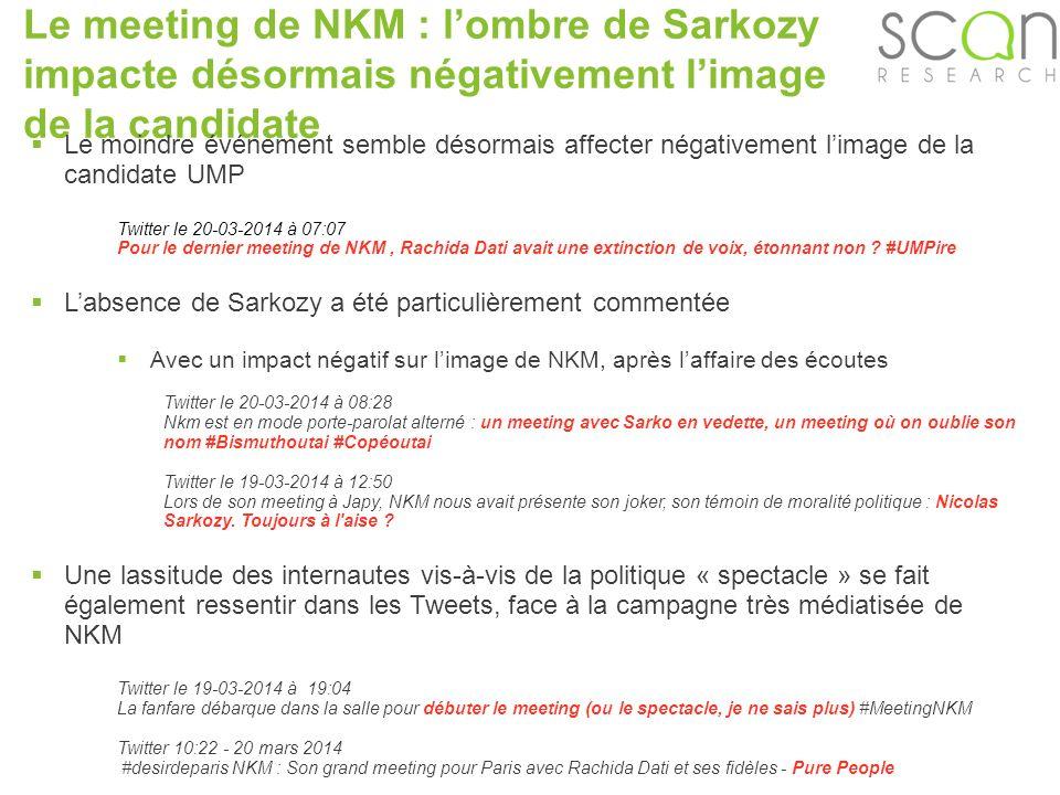 Scan-research Le meeting de NKM : lombre de Sarkozy impacte désormais négativement limage de la candidate Le moindre événement semble désormais affecter négativement limage de la candidate UMP Twitter le 20-03-2014 à 07:07 Pour le dernier meeting de NKM, Rachida Dati avait une extinction de voix, étonnant non .