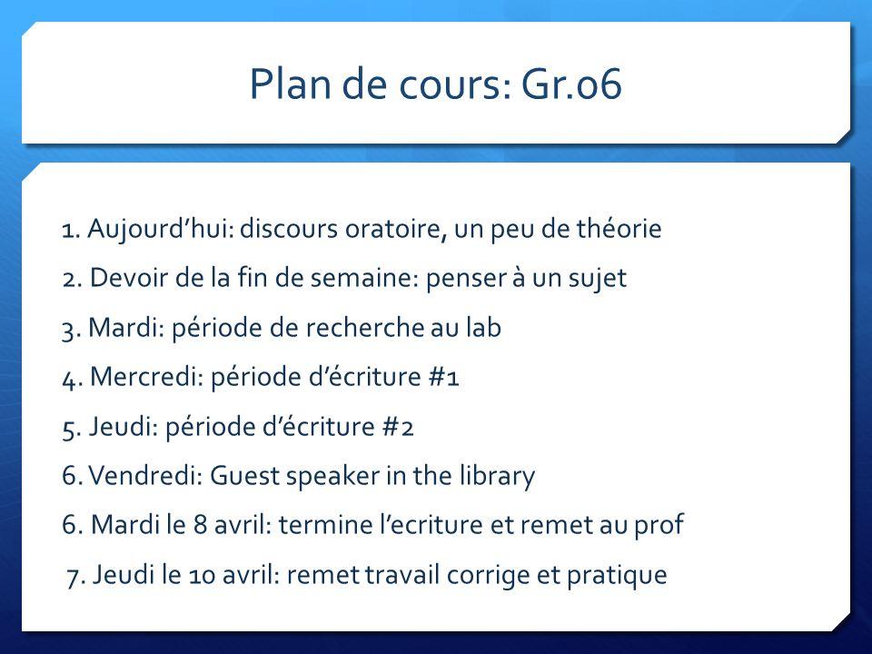 Plan de cours: Gr.06 1. Aujourdhui: discours oratoire, un peu de théorie 2. Devoir de la fin de semaine: penser à un sujet 3. Mardi: période de recher
