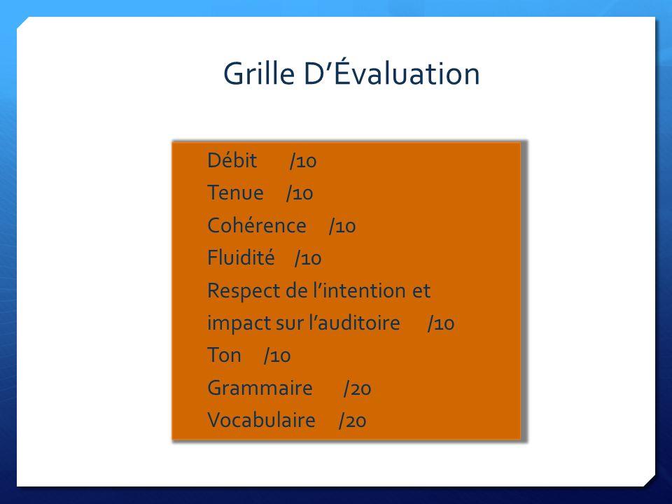 Grille DÉvaluation Débit /10 Tenue /10 Cohérence /10 Fluidité /10 Respect de lintention et impact sur lauditoire /10 Ton /10 Grammaire /20 Vocabulaire